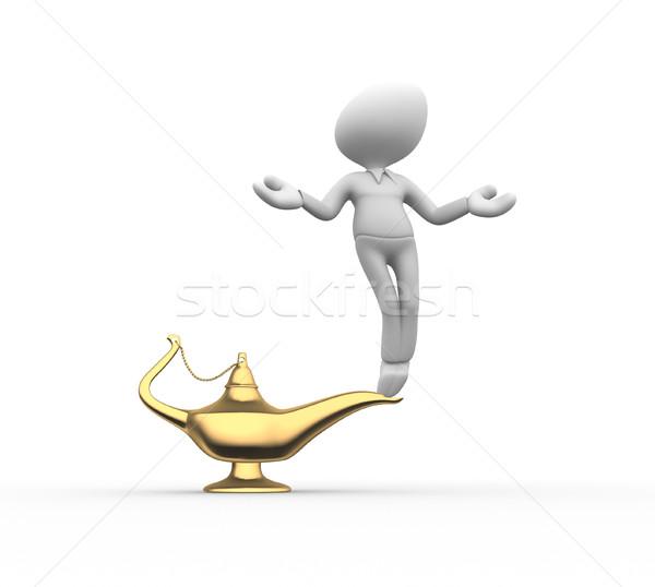 Genio lámpara 3d personas hombres persona hombre Foto stock © orla