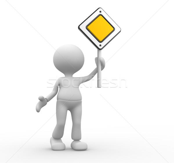 Priorytet 3d osób człowiek osoby znak drogowy działalności Zdjęcia stock © orla
