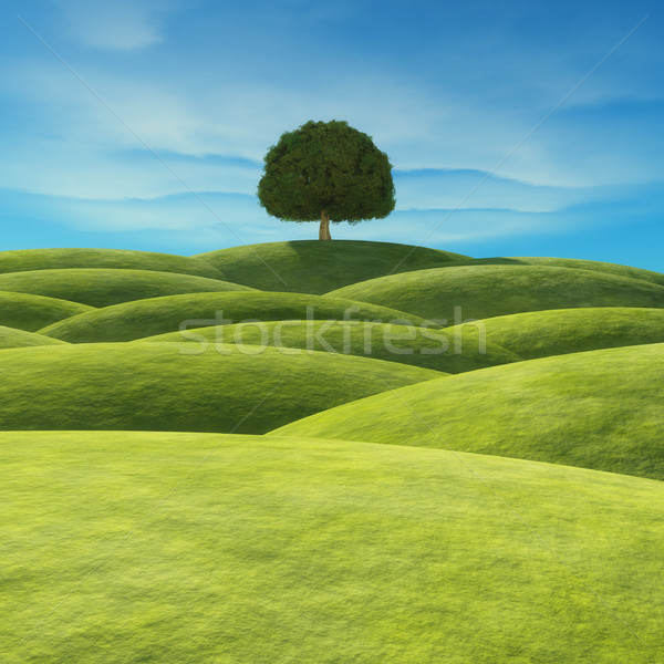 Stock photo: A tree with green leaves