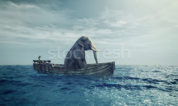 Elephant in a boat at sea. Stock photo © orla