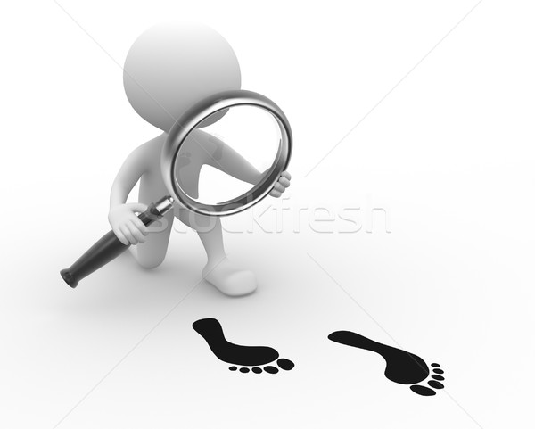 Magnifying glass and footprint  Stock photo © orla