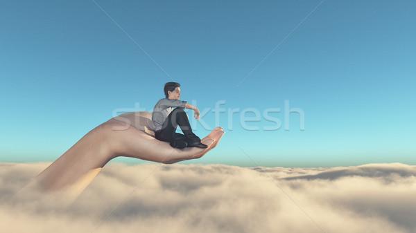 Man sitting overclouds Stock photo © orla