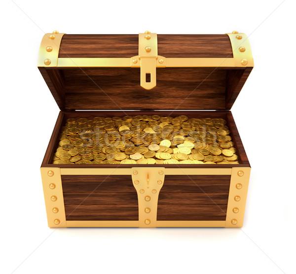 Kincsesláda fából készült arany érmék nyomtatott királyi korona Stock fotó © orla