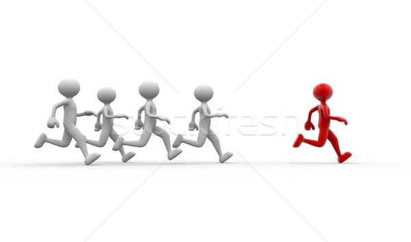 триумф 3d люди мужчин человек работает бег Сток-фото © orla