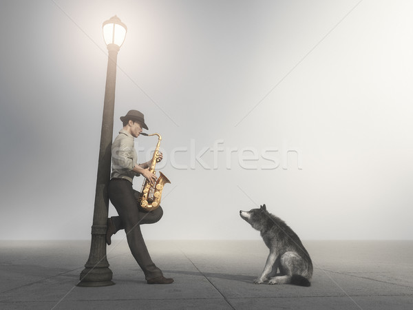 Man playing saxophone Stock photo © orla