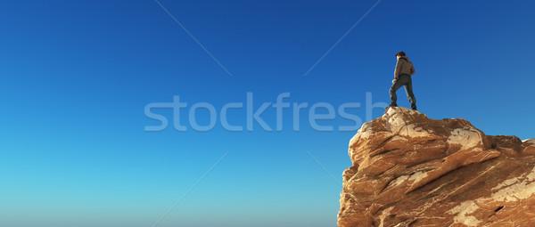 Moço topo montanha azul ver 3d render Foto stock © orla