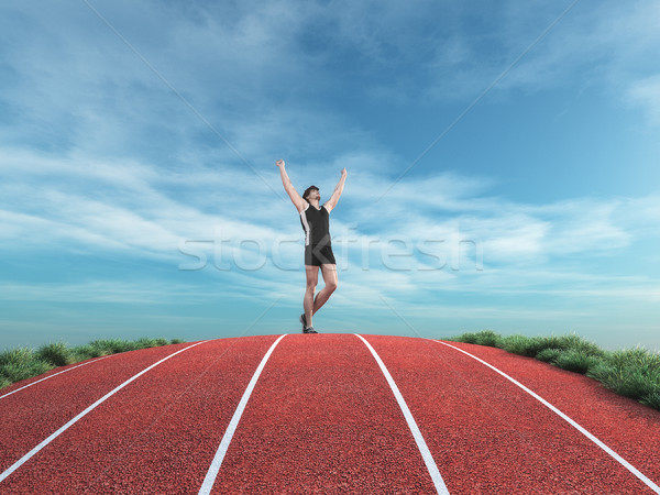 Athlete runner rises his hands to the sky Stock photo © orla