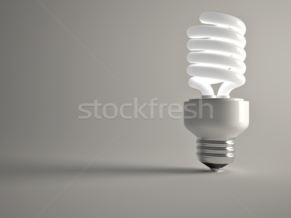 Fluorescente lampadina rendering 3d illustrazione luce Foto d'archivio © orla
