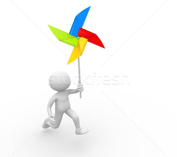 Molino de viento 3d personas hombre persona juguete papel Foto stock © orla
