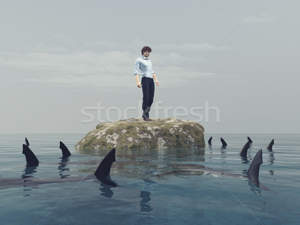 Fiatalember kő óceán cápák 3d render illusztráció Stock fotó © orla