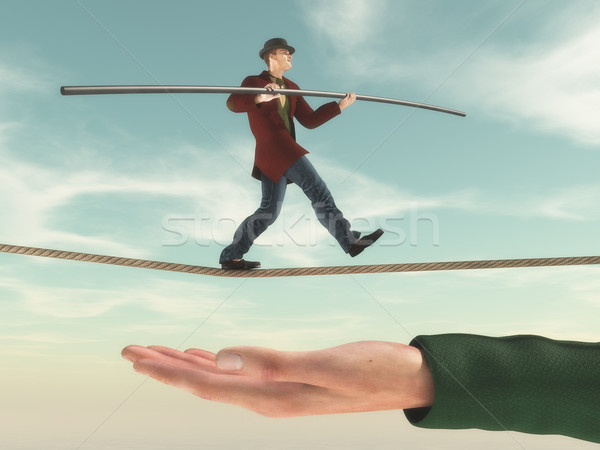 Young man walks on a rope.  Stock photo © orla