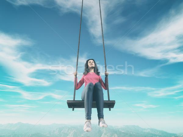 Dziewczyna huśtawka ogromny niebo 3d ilustracja Zdjęcia stock © orla