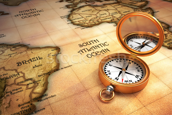 Compass and old map Stock photo © orla