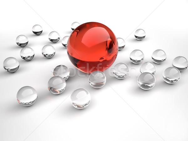 Irányítás csapat üveg gömb piros nagyobb Stock fotó © orla