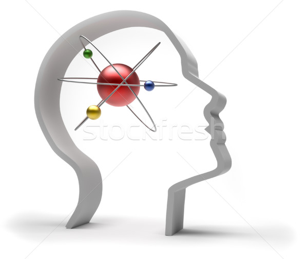 Human head with atom  Stock photo © orla