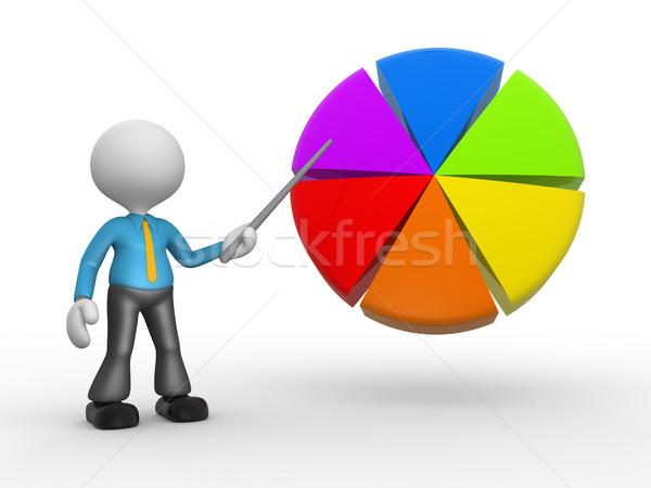 円グラフ 3次元の人々 男 人 ポインティング 背景 ストックフォト © orla