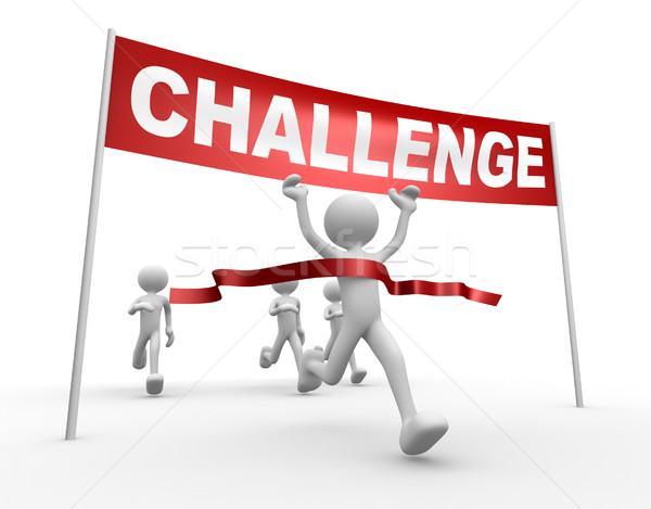 Kihívás 3d emberek férfi személy célszalag sebesség Stock fotó © orla