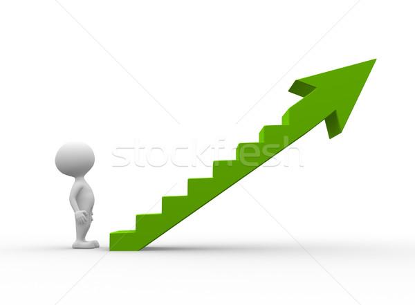 緑 はしご 3次元の人々 男性 人 登る ストックフォト © orla