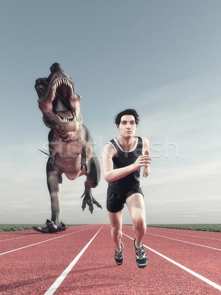 Foto stock: Homem · dinossauro · corrida · atleta · seguir · 3d · render