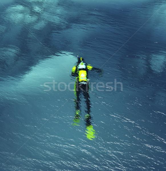 Man duiken pak zwemmen onderwater tropische Stockfoto © orla