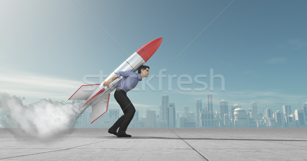 Business man with jet pack rocket  Stock photo © orla