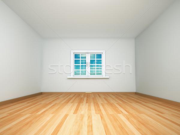 Lege kamer 3d render afbeelding huis hout muur Stockfoto © orla