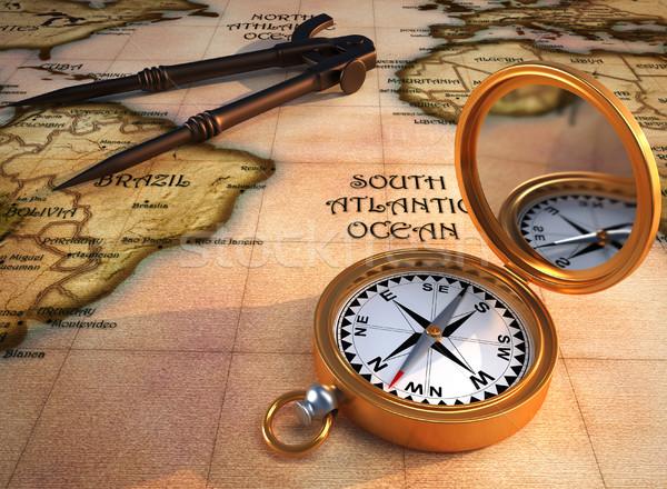 Oude kaart kompas oude tekening 3d render kaart Stockfoto © orla