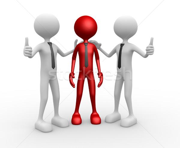 Gratulacja 3d osób mężczyzn osoby wraz szczęśliwy Zdjęcia stock © orla