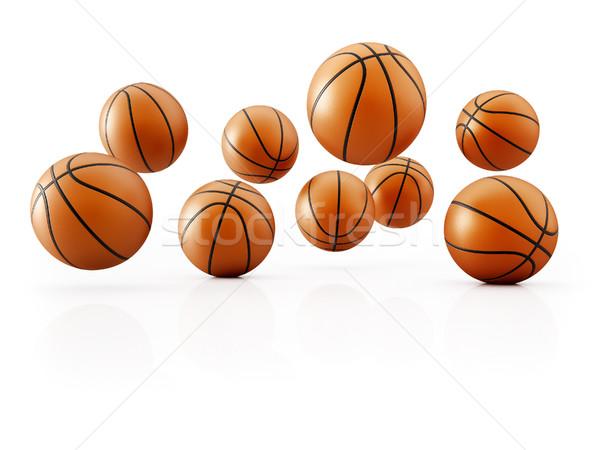 Stock fotó: Ugrás · kosárlabda · ugrik · fehér · 3d · render · illusztráció