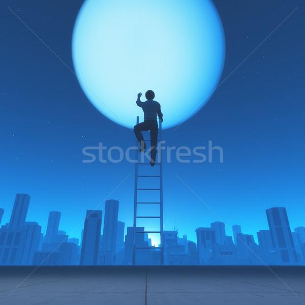 Сток-фото: человека · подняться · лестнице · луна · город · 3d · визуализации
