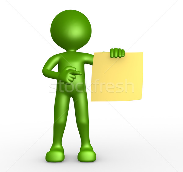 3d people -man, person and yellow paper. Stock photo © orla