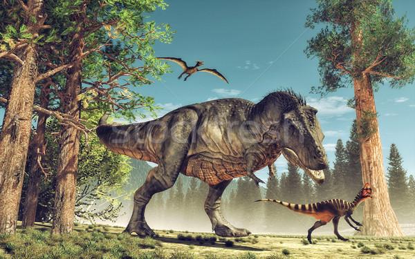 恐竜 3dのレンダリング 実例 ツリー 緑 歯 ストックフォト © orla