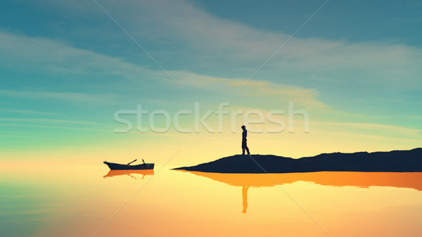 Homem costa barco lago pôr do sol 3d render Foto stock © orla