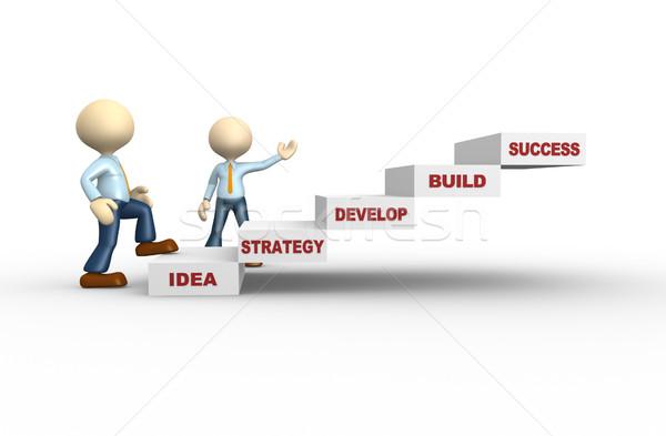 успех 3d люди человека человек лестницы бизнеса Сток-фото © orla