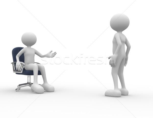 対話 3次元の人々 男性 人 話し 従業員 ストックフォト © orla