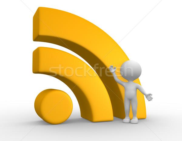 Rss symbol 3d osób mężczyzn osoby człowiek Zdjęcia stock © orla