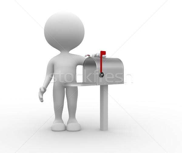 Mailbox 3d mensen mannen persoon naast man Stockfoto © orla