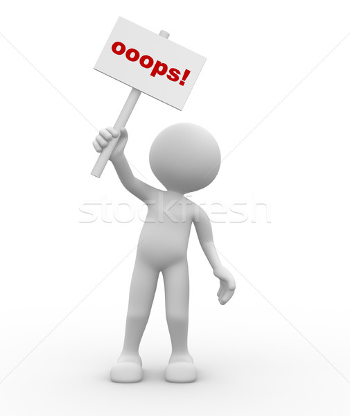3d people - man, person with a 'oops' sign in hands.  Stock photo © orla