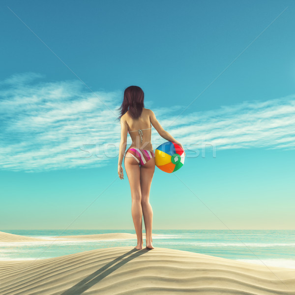 Meisje strandbal zand 3d render illustratie vrouwen Stockfoto © orla