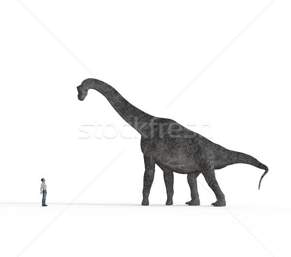 Stock fotó: Kicsi · férfi · szemtől · szembe · nagy · dinoszauruszok · fehér