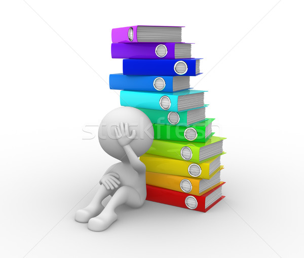 Pile of folders. Exhausted  Stock photo © orla