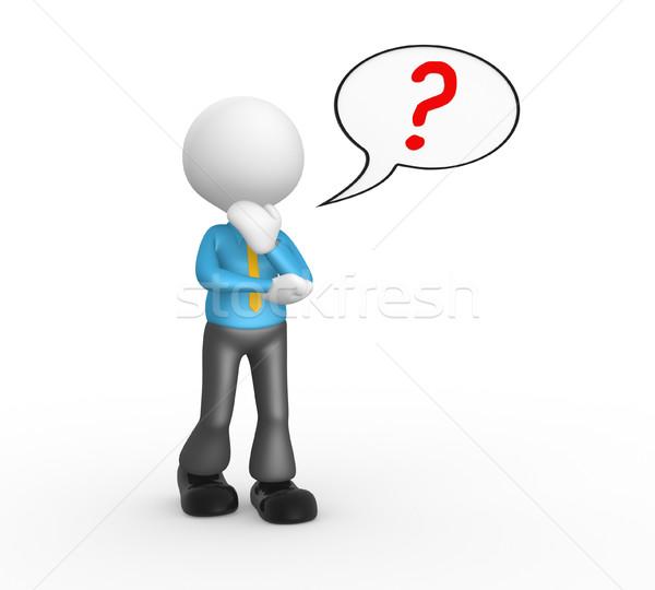 Stockfoto: Vraagteken · 3d · mensen · man · persoon · tekstballon · teken