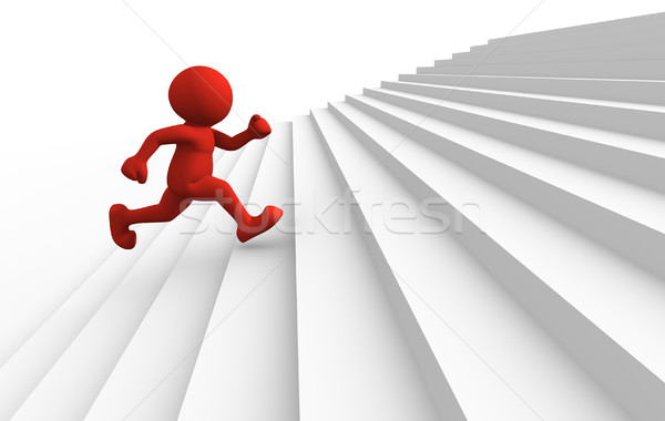 3d people character running up on stairs - 3d render Stock photo © orla