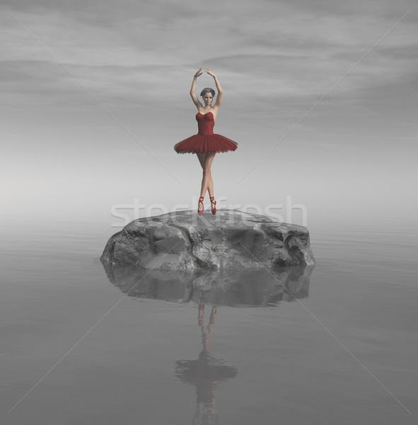 小さな 美しい バレリーナ 赤 石 海 ストックフォト © orla