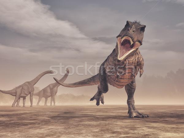 Jurrasic scene - a fierce Trex dinosaur attacking Stock photo © orla