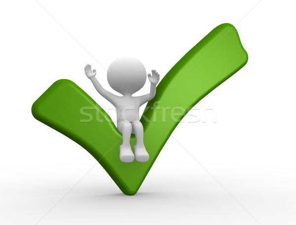 Verificar 3d pessoas homem pessoa verde Foto stock © orla