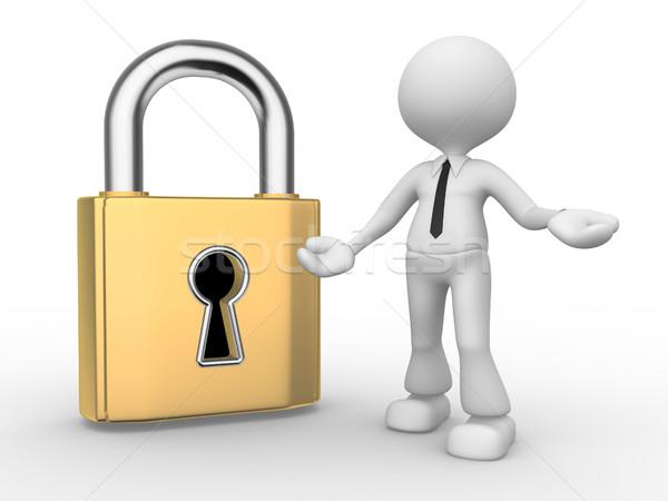 Foto stock: Trancar · 3d · pessoas · homem · pessoa · buraco · de · fechadura · segurança