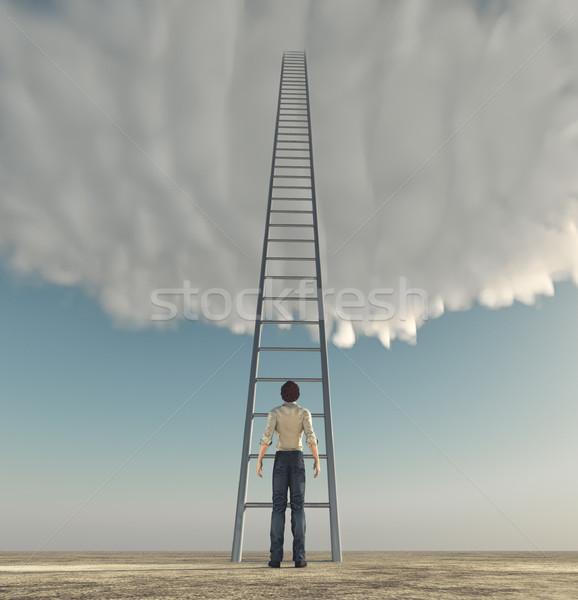 Man ladder hemel succes 3d render illustratie Stockfoto © orla