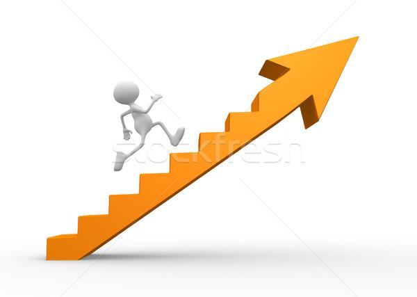 Létra 3d emberek férfiak személy mászik lépcsősor Stock fotó © orla