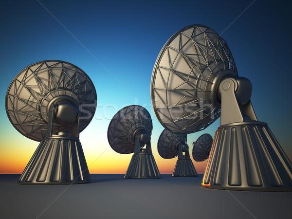 радио телескопом 3d визуализации иллюстрация блюдо закат Сток-фото © orla